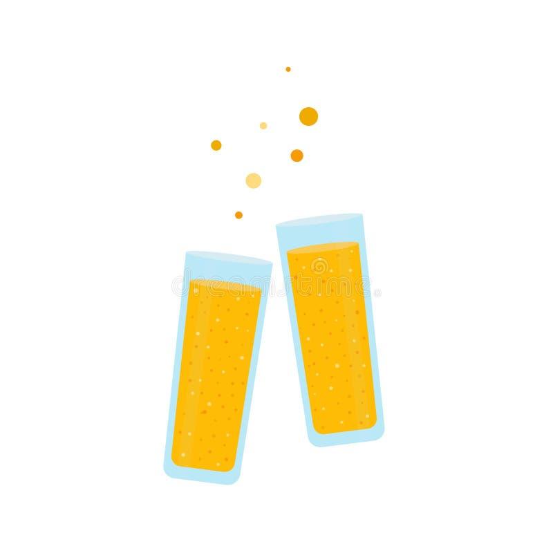 Δύο ποτήρια του χυμού από πορτοκάλι σε ένα απομονωμένο λευκό υπόβαθρο ελεύθερη απεικόνιση δικαιώματος