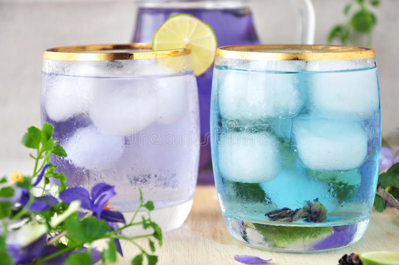 Δύο ποτήρια του χυμού μπιζελιών πεταλούδων στοκ φωτογραφία με δικαίωμα ελεύθερης χρήσης