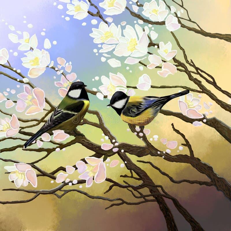 Δύο πουλιά κάθονται στους κλάδους ενός άνθους κερασιών ελεύθερη απεικόνιση δικαιώματος
