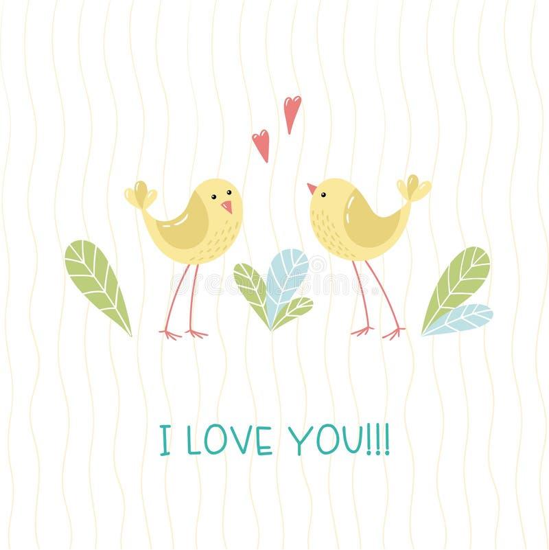 Δύο πουλιά κινούμενων σχεδίων ittle, φύλλα και χειρόγραφη επιγραφή σ' αγαπώ διανυσματική απεικόνιση