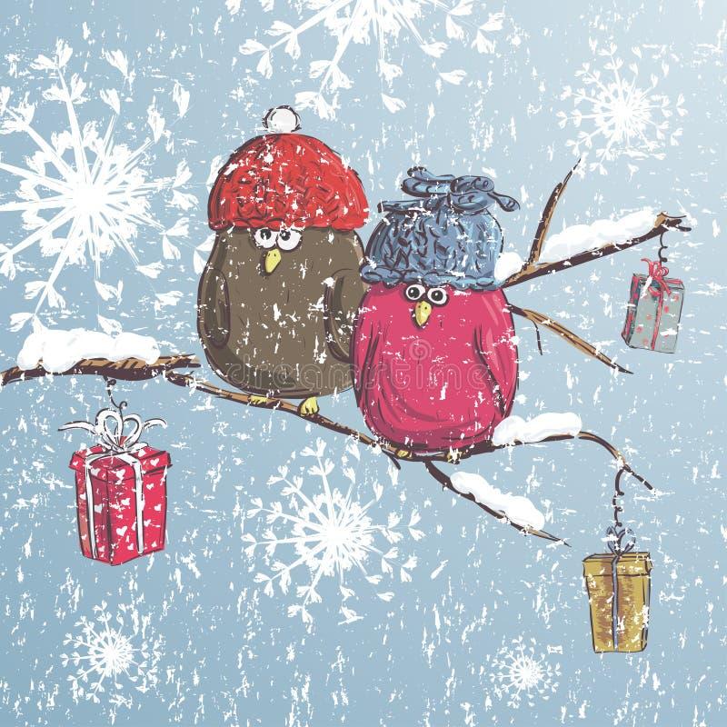 Δύο πουλιά που κάθονται στον κλάδο με το χιόνι Υπόβαθρο χειμερινών κινούμενων σχεδίων Χαριτωμένα πουλιά που φορούν το καπέλο ουρα ελεύθερη απεικόνιση δικαιώματος