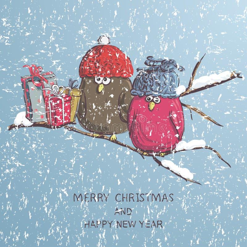Δύο πουλιά που κάθονται στον κλάδο με το χιόνι Υπόβαθρο χειμερινών κινούμενων σχεδίων Χαριτωμένα πουλιά που φορούν το καπέλο ουρα απεικόνιση αποθεμάτων