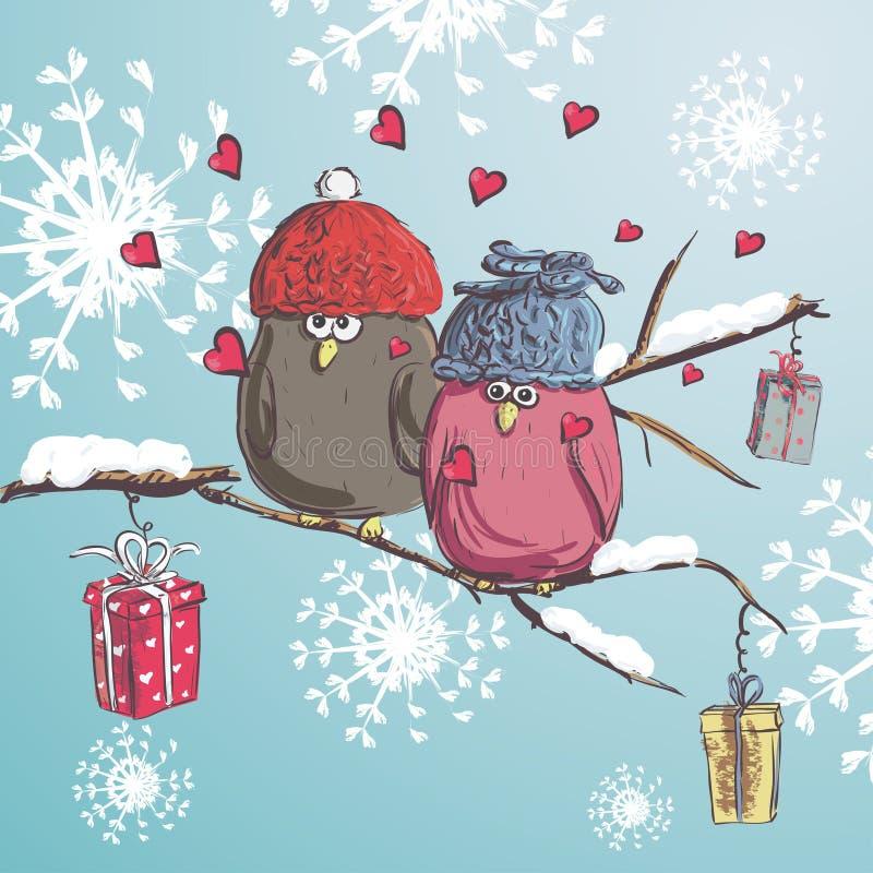 Δύο πουλιά που κάθονται στον κλάδο με το χιόνι Υπόβαθρο χειμερινών κινούμενων σχεδίων Χαριτωμένα πουλιά που φορούν το καπέλο ουρα διανυσματική απεικόνιση
