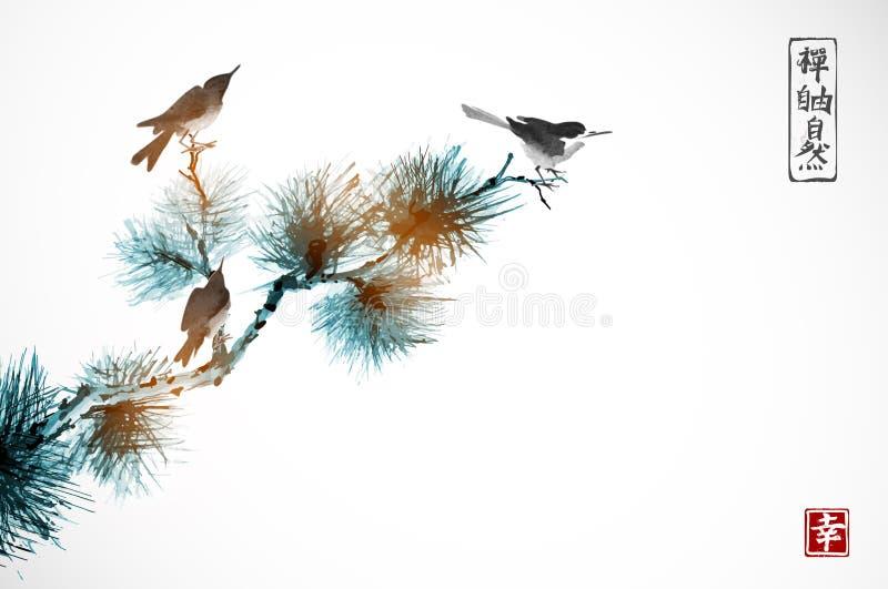 Δύο πουλιά στο δέντρο πεύκων Παραδοσιακό ασιατικό μελάνι που χρωματίζει το sumi-ε, u-αμαρτία, πηγαίνω-Hua Hieroglyphs - zen, ελευ απεικόνιση αποθεμάτων