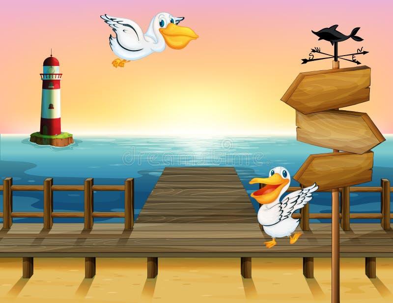 Δύο πουλιά κοντά σε έναν ξύλινο πίνακα βελών διανυσματική απεικόνιση