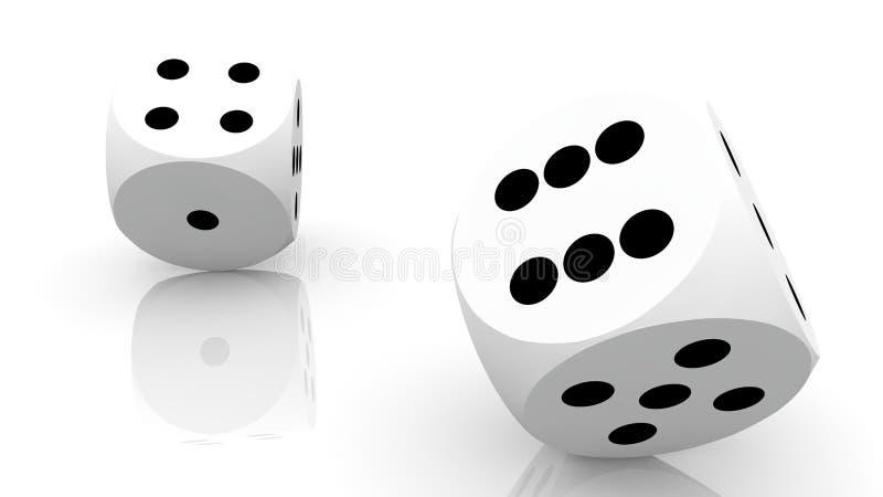 Δύο που κυλούν χωρίζουν σε τετράγωνα στο λευκό διανυσματική απεικόνιση