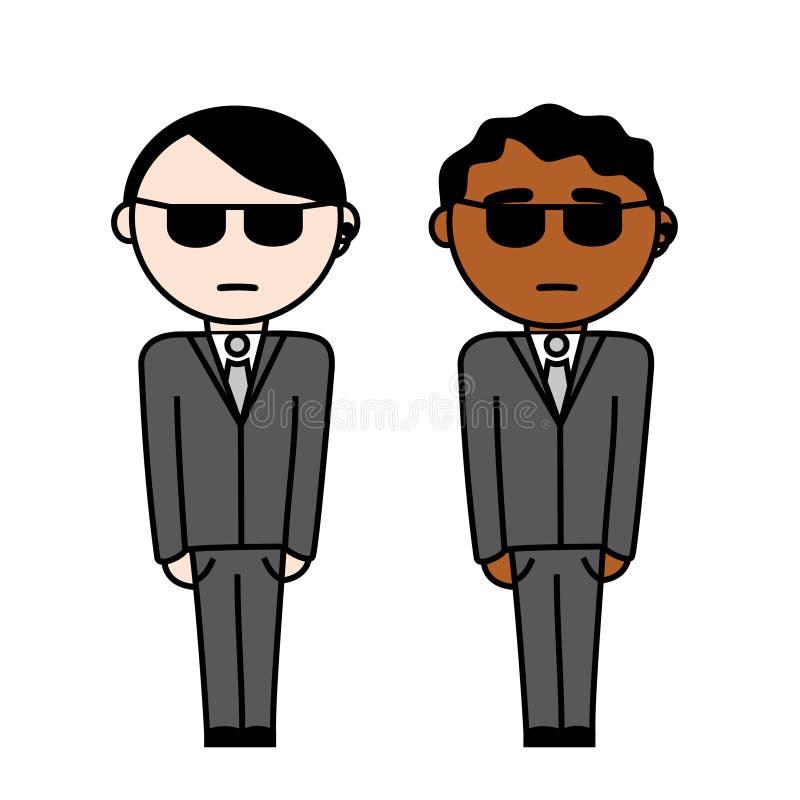 Δύο πράκτορες στο κοστούμι διανυσματική απεικόνιση