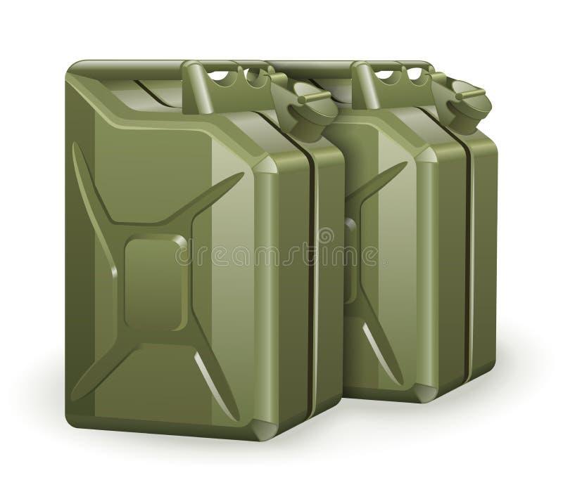Δύο πράσινα μεταλλικά κουτιά βενζίνης απεικόνιση αποθεμάτων