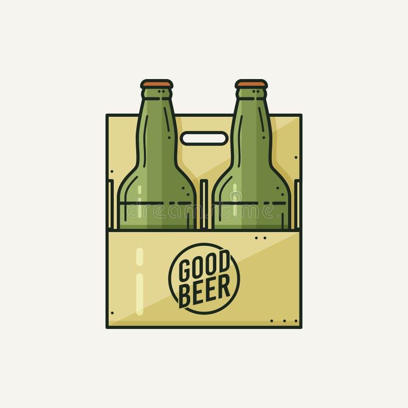 Δύο πράσινα μπουκάλια μπύρας στη συσκευασία που απομονώνεται σε ένα ελαφρύ υπόβαθρο απεικόνιση αποθεμάτων