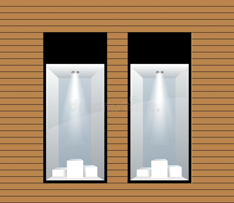 Δύο προθήκες με το φωτισμό r απεικόνιση αποθεμάτων