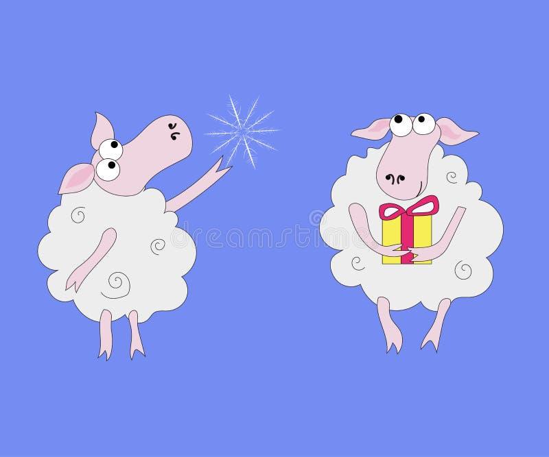 Δύο πρόβατα με τα δώρα και snowflakes απεικόνιση αποθεμάτων