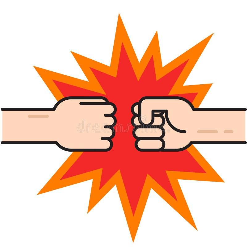 Δύο πυγμές που χτυπούν μαζί το διάνυσμα, παραδίδουν punching αέρα ελεύθερη απεικόνιση δικαιώματος