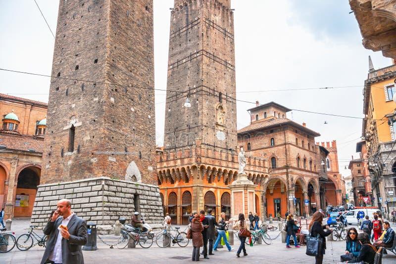 Δύο πύργοι Μπολόνια, Ιταλία στοκ εικόνες με δικαίωμα ελεύθερης χρήσης