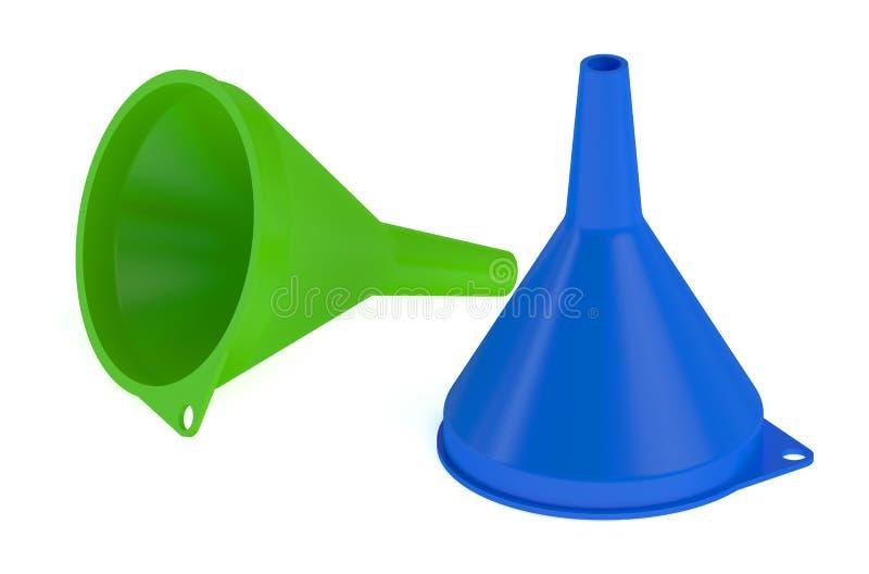 Δύο πλαστικές χοάνες διανυσματική απεικόνιση