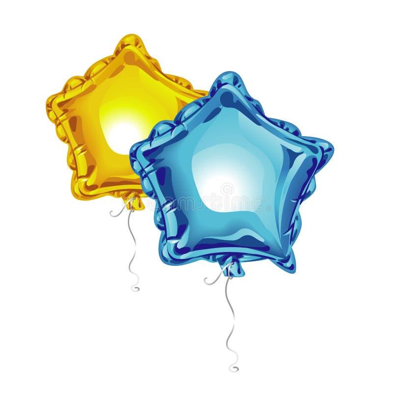 Δύο ρεαλιστικά τρισδιάστατα μπαλόνια φύλλων αλουμινίου με μορφή ενός αστεριού με απεικονίζουν απομονωμένος στο άσπρο υπόβαθρο Εορ απεικόνιση αποθεμάτων