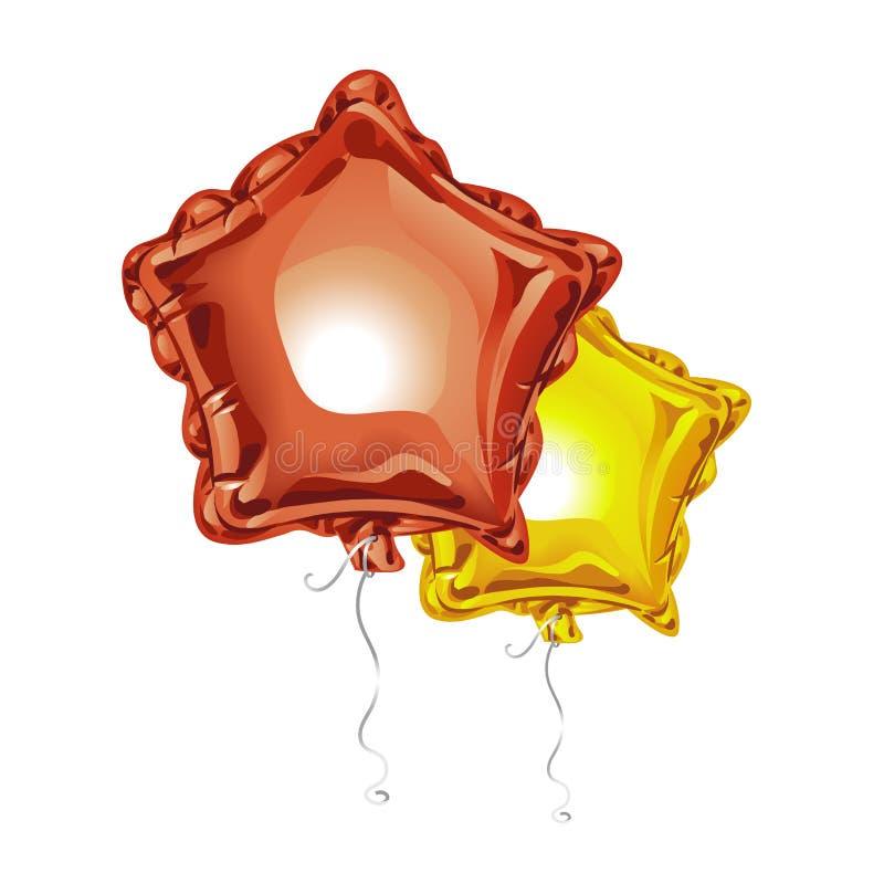 Δύο ρεαλιστικά τρισδιάστατα μπαλόνια φύλλων αλουμινίου με μορφή ενός αστεριού με απεικονίζουν απομονωμένος στο άσπρο υπόβαθρο Εορ ελεύθερη απεικόνιση δικαιώματος