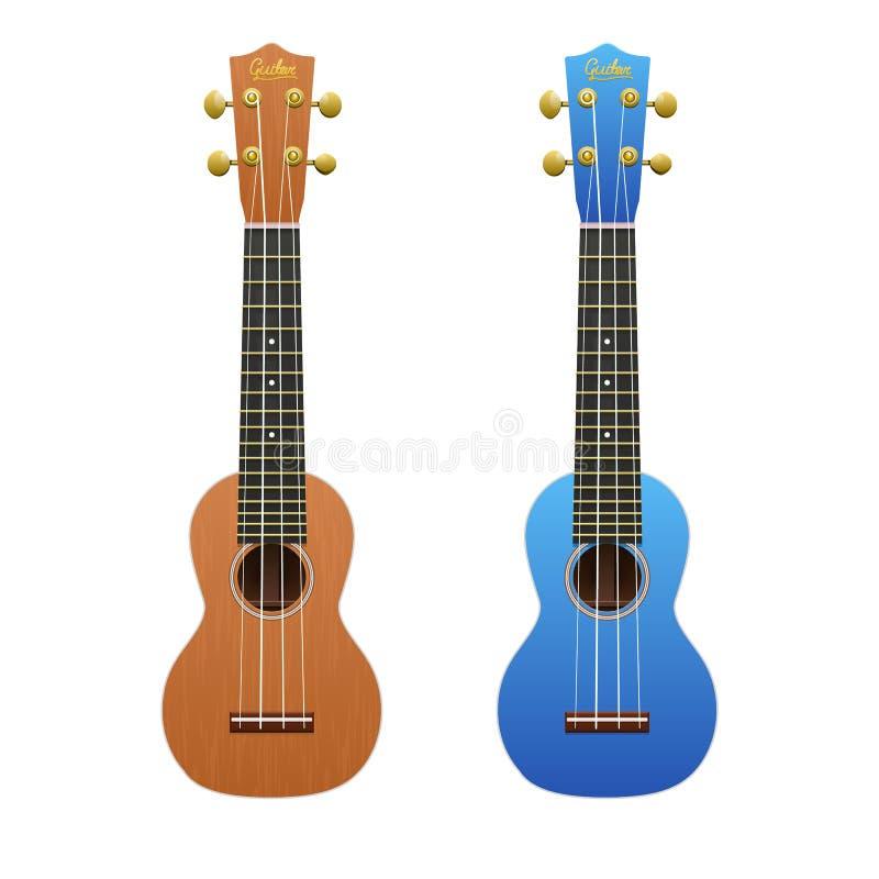 Δύο ρεαλιστικά ukuleles που απομονώνονται στο λευκό ελεύθερη απεικόνιση δικαιώματος