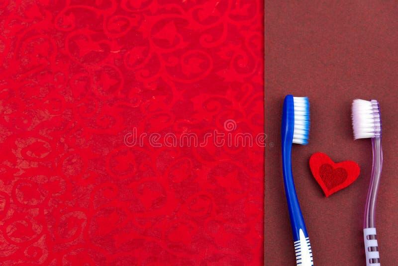 Δύο ροζ και μπλε οδοντόβουρτσες, επίπεδη ιδέα αγάπης για τη γιορτή του αγίου βαλεντίνου στοκ φωτογραφίες με δικαίωμα ελεύθερης χρήσης