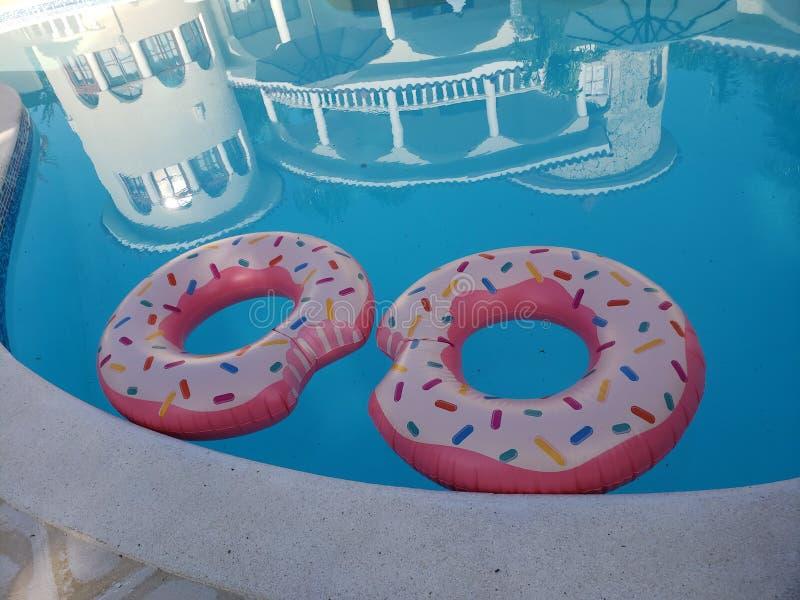 Δύο ρόδινα δαχτυλίδια επιπλεόντων σωμάτων σε μια πισίνα στοκ φωτογραφία με δικαίωμα ελεύθερης χρήσης