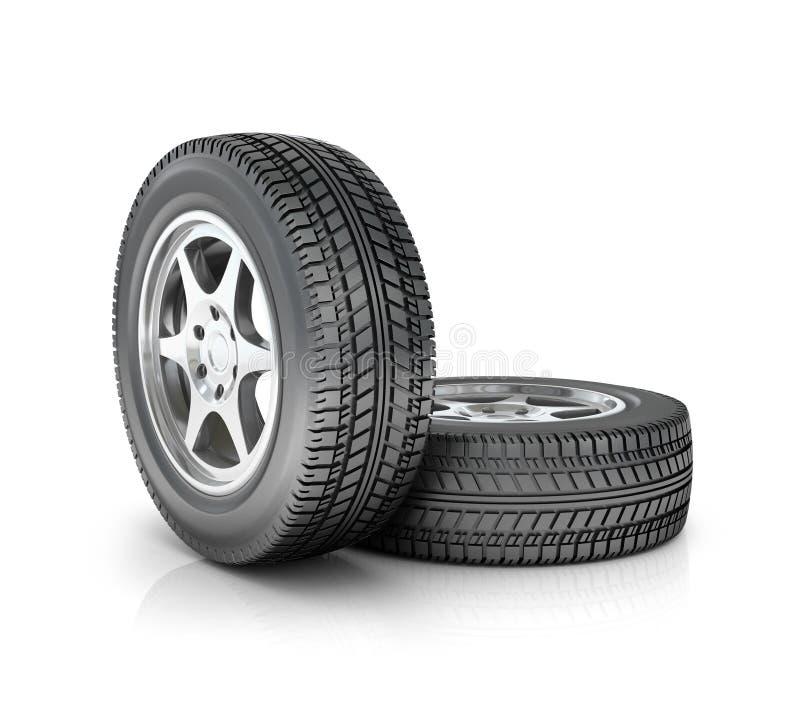 Δύο ρόδες αυτοκινήτων απεικόνιση αποθεμάτων