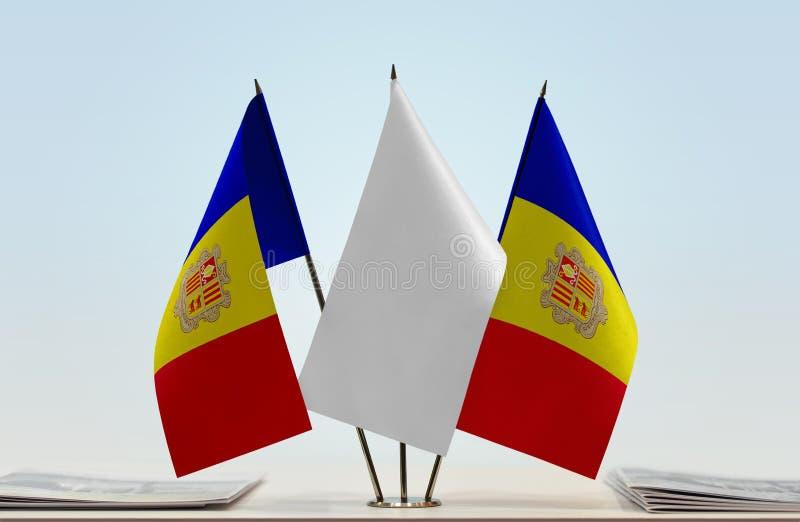 Δύο σημαίες της Ανδόρας στοκ φωτογραφία με δικαίωμα ελεύθερης χρήσης