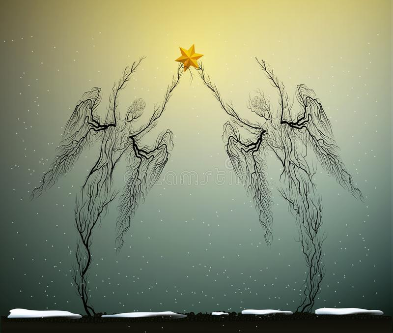Δύο σκιαγραφίες δέντρων όπως τους αγγέλους που κρατούν το κόκκινο αστέρι Χριστουγέννων στο χιονίζοντας καιρό, έννοια εικονιδίων Χ ελεύθερη απεικόνιση δικαιώματος