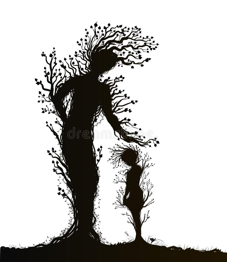 Δύο σκιαγραφίες δέντρων ελεύθερη απεικόνιση δικαιώματος