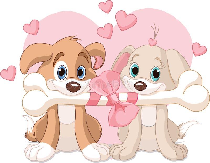Δύο σκυλιά βαλεντίνων ελεύθερη απεικόνιση δικαιώματος