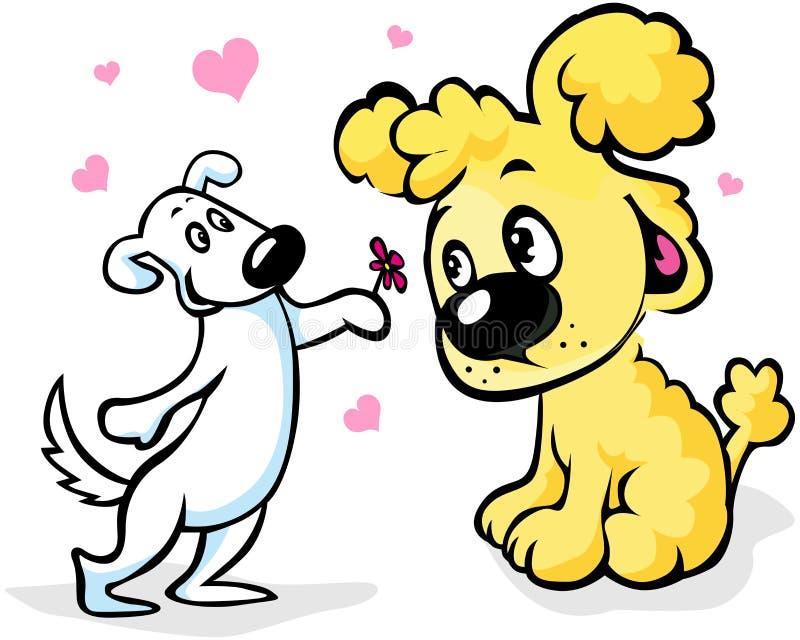 Δύο σκυλιά ερωτευμένα απεικόνιση αποθεμάτων