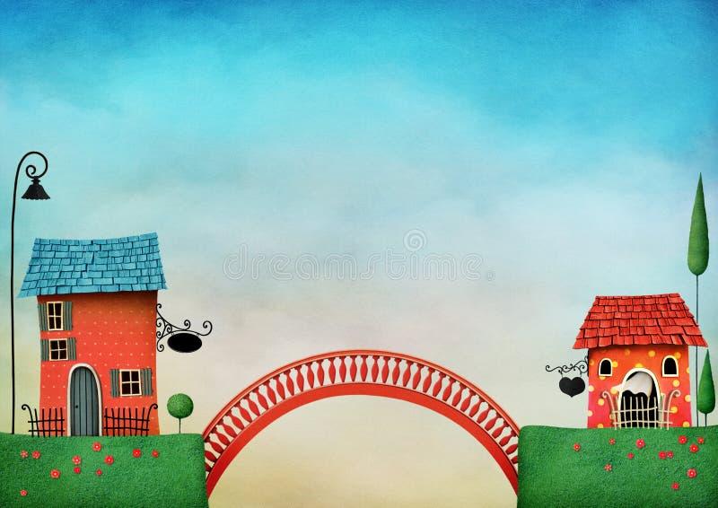 Δύο σπίτια και γέφυρα διανυσματική απεικόνιση