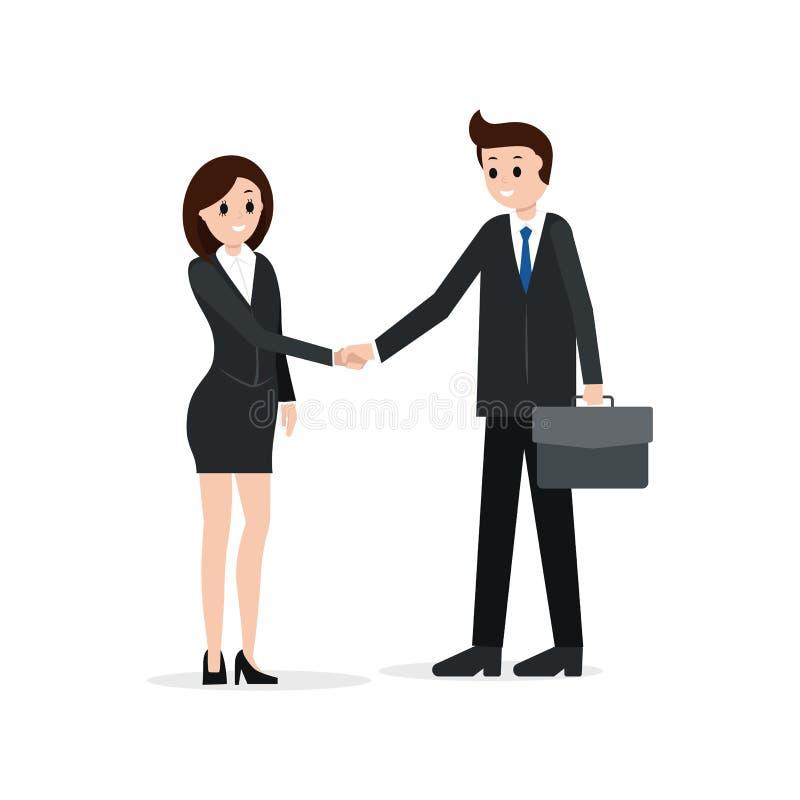Δύο συνέταιροι που τινάζουν τα χέρια, διανυσματική απεικόνιση Έννοια συνεργασίας, μίσθωσης ή συμφωνίας διανυσματική απεικόνιση