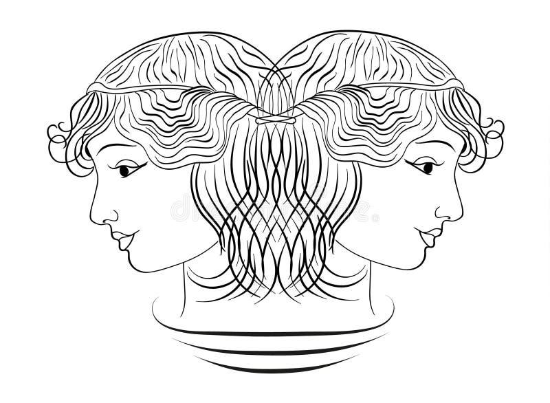 Δύο σχεδιαγράμματα του προσώπου του κοριτσιού σε ένα άσπρο υπόβαθρο, απεικόνιση διανυσματική απεικόνιση