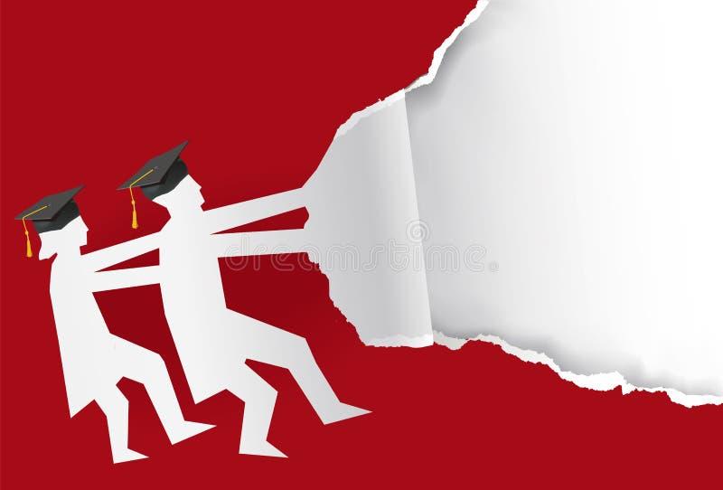 Δύο σχισμένο πτυχιούχοι κόκκινο υπόβαθρο εγγράφου διανυσματική απεικόνιση
