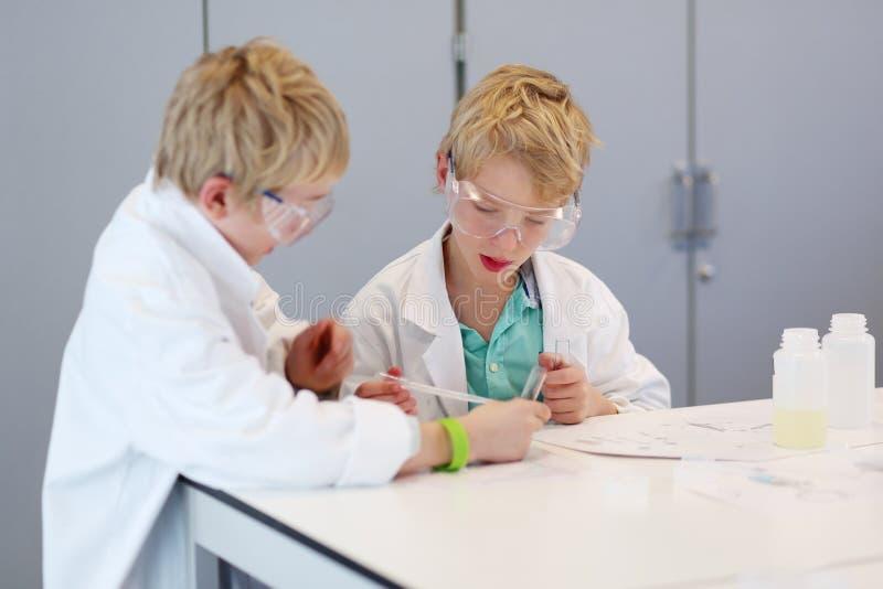 Δύο σχολικά αγόρια κατά τη διάρκεια της κατηγορίας χημείας στοκ εικόνες με δικαίωμα ελεύθερης χρήσης
