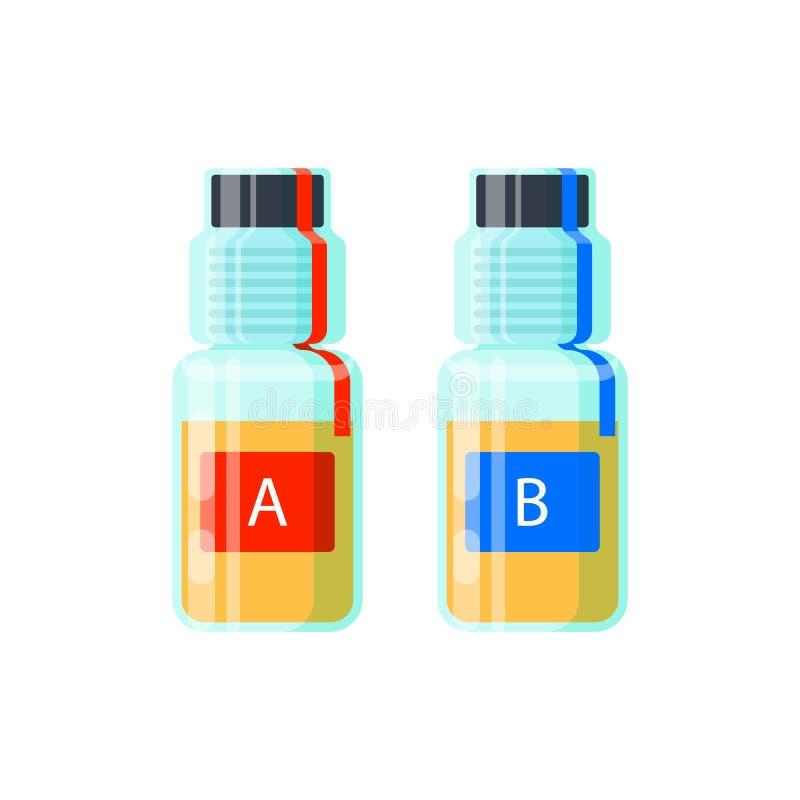 Δύο σωλήνες εξετάσεων ούρων για την ανάλυση της νάρκωσης - εξετάστε το Α και το Β, σφραγισμένες αποδείξεις για τον έλεγχο ελέγχου ελεύθερη απεικόνιση δικαιώματος