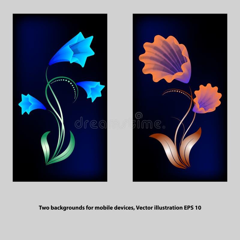 Δύο ταπετσαρίες για τις κινητές συσκευές στο σκοτεινό υπόβαθρο ελεύθερη απεικόνιση δικαιώματος