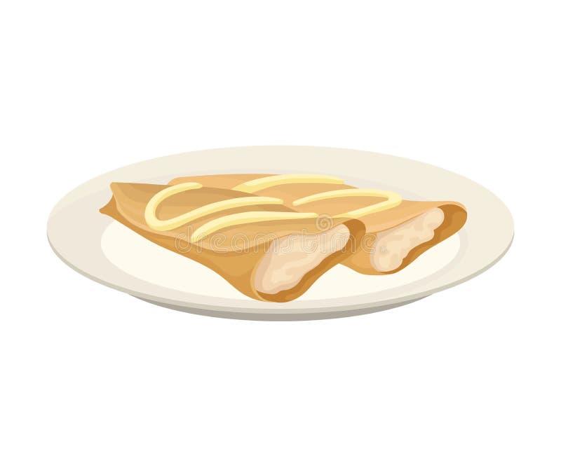 Δύο τηγανίτες με μορφή ενός ρόλου με μια άσπρη πλήρωση E απεικόνιση αποθεμάτων