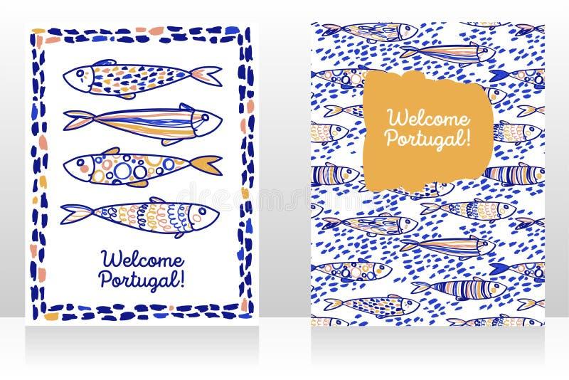 Δύο τουριστικά εμβλήματα για την ευπρόσδεκτη Πορτογαλία ελεύθερη απεικόνιση δικαιώματος