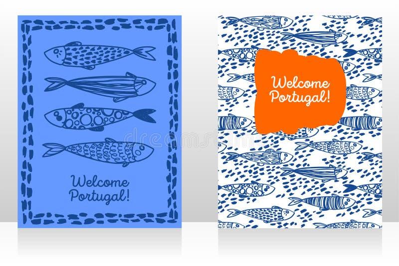 Δύο τουριστικά εμβλήματα για την ευπρόσδεκτη Πορτογαλία διανυσματική απεικόνιση