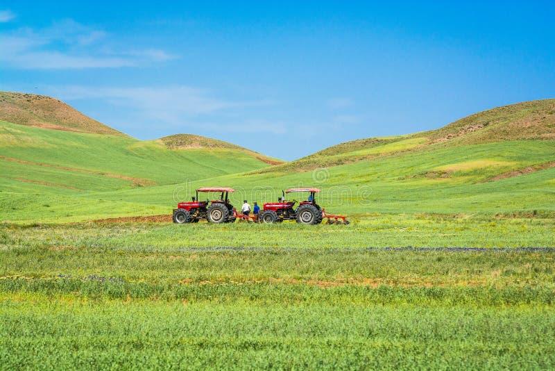 Δύο τρακτέρ στους γεωργικούς τομείς στο Ιράν στοκ εικόνες