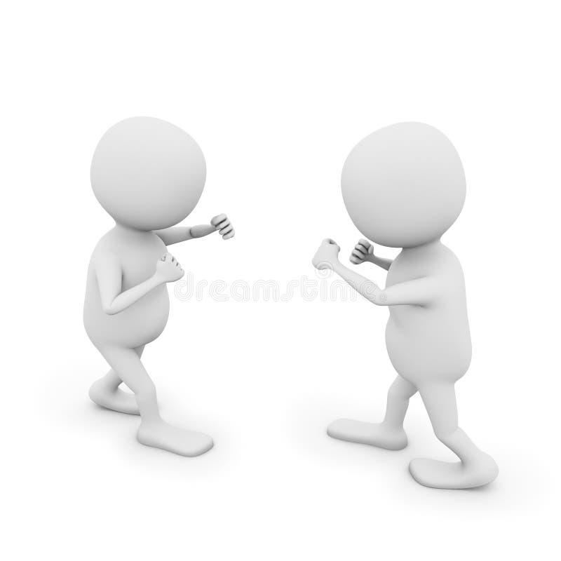 Δύο τρισδιάστατα άτομα στην πάλη της θέσης διανυσματική απεικόνιση