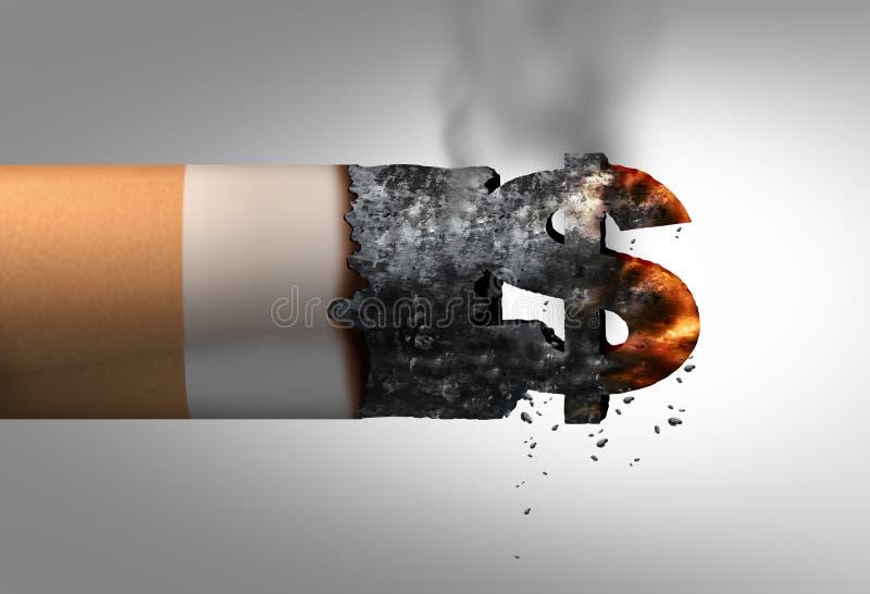 Δύο τσιγάρα και λογαριασμοί 100 δολαρίων που απομονώνονται στην άσπρη ανασκόπηση απεικόνιση αποθεμάτων