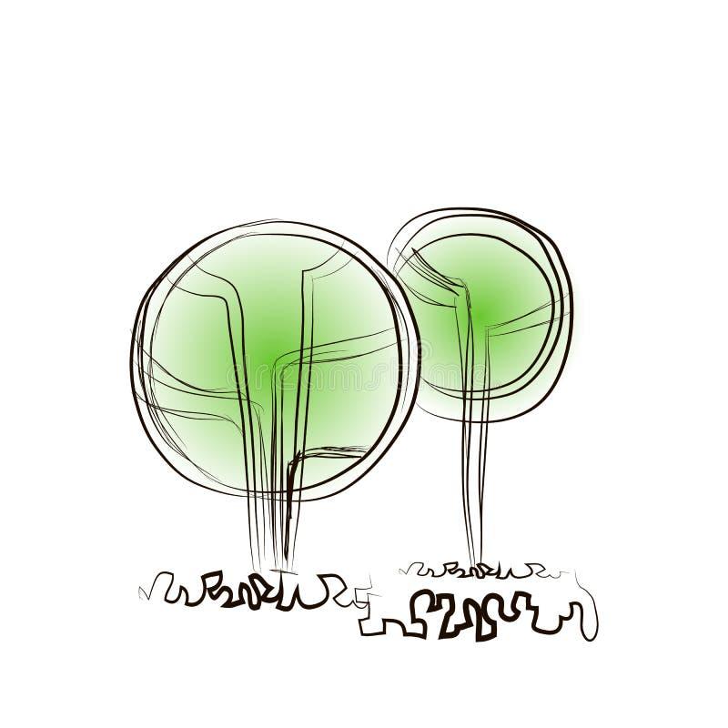 Δύο τυποποιημένα αφηρημένα δέντρα στο αρχιτεκτονικό ύφος διανυσματική απεικόνιση