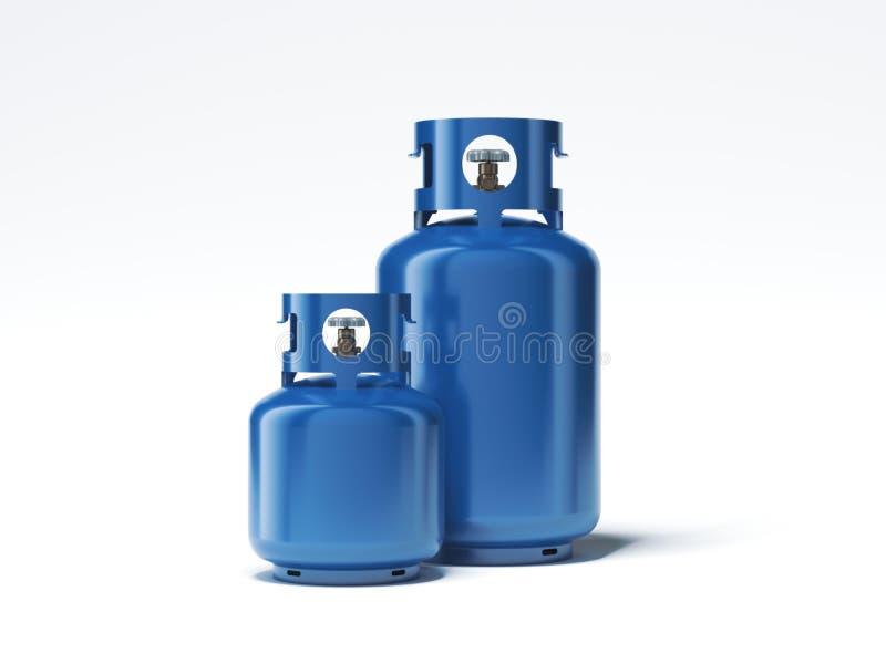 Δύο τύποι μπουκαλιών αερίου που απομονώνονται στο άσπρο υπόβαθρο τρισδιάστατη απόδοση στοκ φωτογραφίες