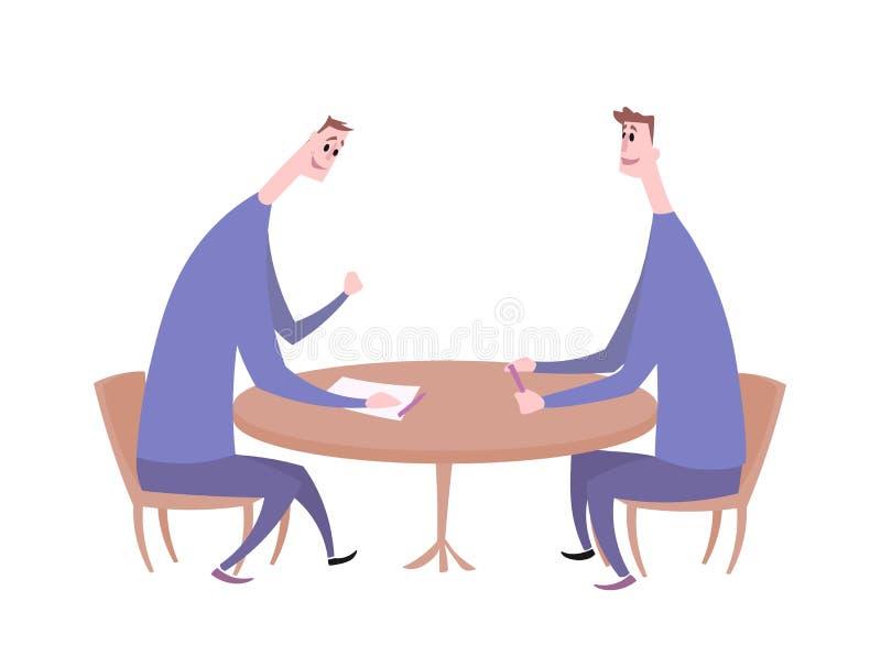 Δύο τύποι που έχουν μια συνομιλία στον πίνακα Επιχειρησιακή συνεδρίαση, συνέντευξη εργασίας, διαπραγμάτευση Επίπεδη διανυσματική  απεικόνιση αποθεμάτων