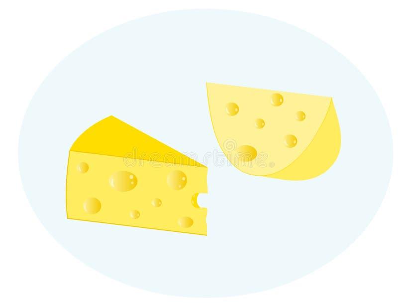 Δύο φέτες του τυριού σε ένα μπλε υπόβαθρο διανυσματική απεικόνιση