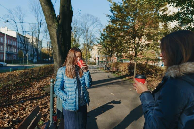 Δύο φίλες πίνουν το μόνιμο πάρκο συζήτησης καφέ πρωινού στοκ εικόνες