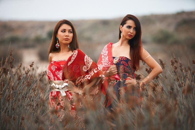 Δύο φίλες στα ζωηρόχρωμα ενδύματα μαντίλι, υπαίθρια πορτρέτο στοκ εικόνα