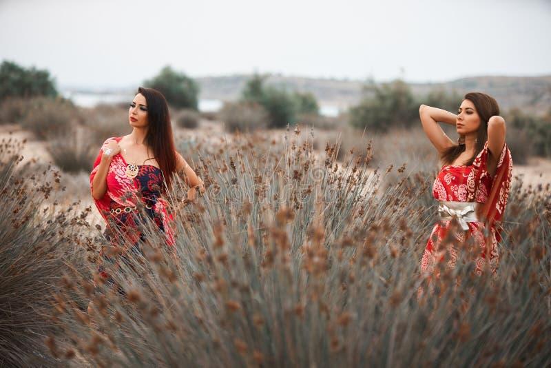 Δύο φίλες στα ζωηρόχρωμα ενδύματα μαντίλι, υπαίθρια πορτρέτο στοκ φωτογραφίες