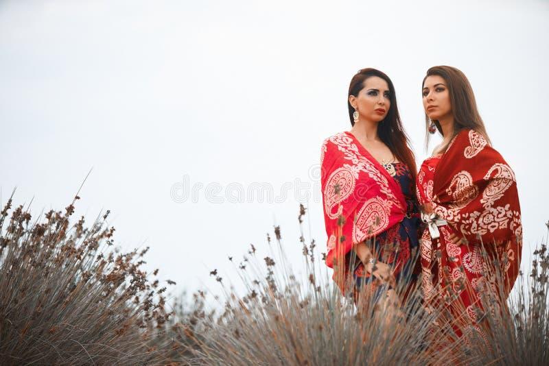Δύο φίλες στα ζωηρόχρωμα ενδύματα μαντίλι, υπαίθρια πορτρέτο στοκ εικόνες